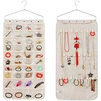 Amazoncom FakeFace Double Sided Hanging Jewellery Storage Pockets
