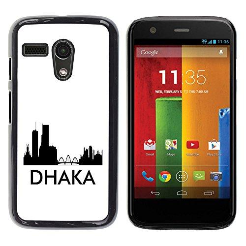 STPlus Dhaka, Bangladesh City Skyline Silhouette Postcard Hard Cover Case for Motorola Moto G