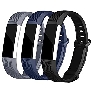 For Fitbit Alta Bands and Fitbit Alta HR Bands, Newest Adjustable Sport Strap Replacement Bands for Fitbit Alta and Fitbit Alta HR Smartwatch Fitness Wristbands Black Navy Gray Large