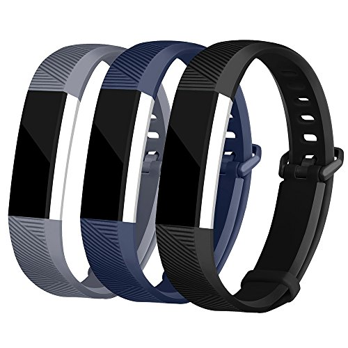 For Fitbit Alta Bands and Fitbit Alta HR Bands, Newest Adjustable Sport Strap Replacement Bands for Fitbit Alta and Fitbit Alta HR Smartwatch Fitness Wristbands Black Navy Gray Small (Lavender Leather Band Watch)