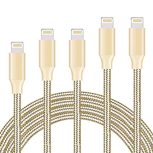 Price comparison product image Ulimag Phone Charger 5Pack 3FT 6FT 6FT 10FT 10FT Nylon Braided USB Charging & Syncing Cord Compatible with Phone XS/MAX/XR/X / 8/8 Plus / 7/7 Plus / 6s / 6s Plus /6 6 Plus (Gold)