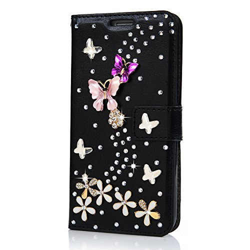 Maviss Diary S7 Case,Galaxy S7 Case 3D Handmade Wallet Bling Crystal PU Leather with Shiny Diamonds Elegant Butterfly Floral Flip Cover & Card Holders & ID Card Window for Samsung Galaxy S7 - Black