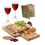 Natural Bamboo Cheese Board - Wooden Charcuterie Serving Plate & Meat Cutting Platter Tray with Cutlery Server Knife Set, Great Gift Idea for Birthdays, Bridal Shower Wedding Registry, Housewarming