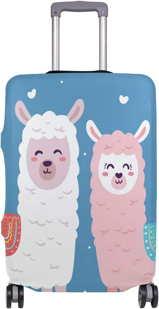 3D Couple Love Alpaca Print Luggage Protector Travel Luggage Cover Trolley Case Protective Cover Fits 18-32 Inch