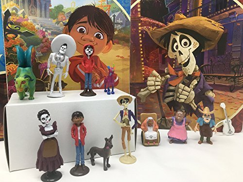 Disney Pixar Coco Movie Day of the Death Deluxe Mini Cake Toppers Cupcake Decorations Set with 12 Figures