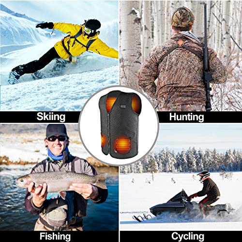 SHAALEK Heated Vest 5 Files Adjustable Temperature Heated Jacket Men with USB Charging Insert Heated Vest for Men Women for Outdoor Hiking Hunting Motorcycle