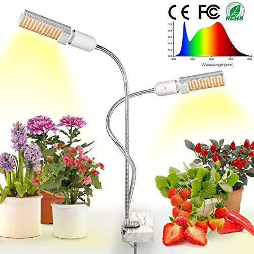 LED Grow Light for Indoor Plant, Relassy Sunlike Full Spectrum Grow Lamp, Dual Head Gooseneck Plant Light with Replaceable Bulb, Double Switch, Professional for Seedling Growing Blooming Fruiting ()