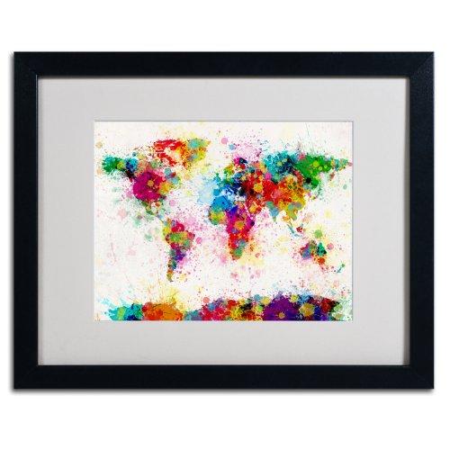 Trademark Fine Art World Map Paint Artwork by Michael Tompsett in Black Frame, 16 by 20-Inch