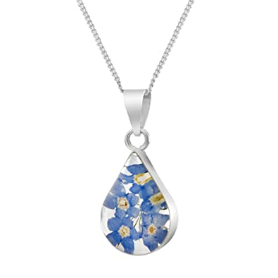 Sterling Silver Real Flower Pendant Necklace - Forget-Me-Not purple & blue - Heart - 18