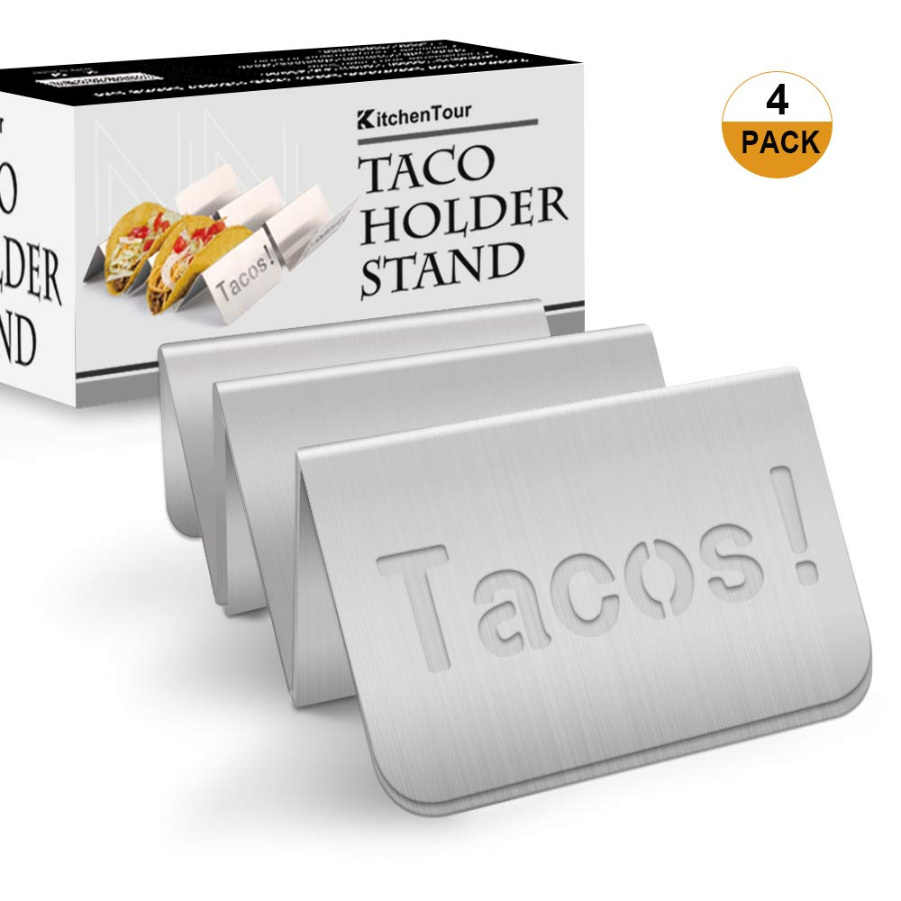 Hollow Out Design Stainless Steel Taco Rack Holds Perfect for HARD or SOFT Tacos Shell KitchenTour Taco Holder Stand 4 Pack Stylish Tacos Keep Tacos Upright without Any Mess