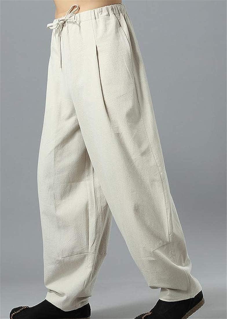 Hajotrawa Mens Simple Lantern Joggers Mid Rise Drawstring Baggy Loose Casual Trousers Pants