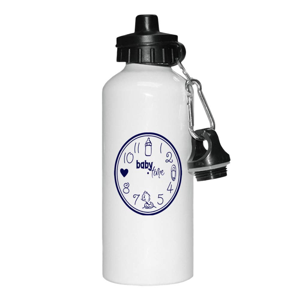 Style In Print Navy Baby Clock Feed Cnahge Bath Love Baby Time Aluminun White Water Bottle