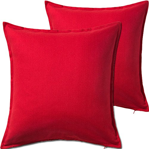 (2 Pack Solid Red Decorative Throw Cushion Pillow Cover Cushion Sleeve for 20