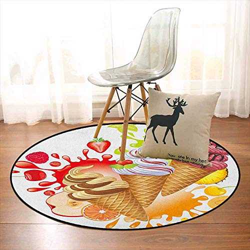 Ice Cream Regional Round Carpet Various Flavors Tasty Summer Dessert with Peach Apricot Strawberry Sorbet Print Non-Slip Easy to Clean D47.2 Inch Multicolor