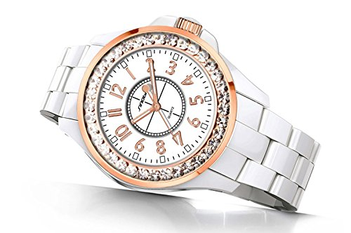 Fashion Waterproof Sports Diamonds Women Men Dress Alloy Strap Girls Quartz Imitation Ceramics Watch (White Gold)