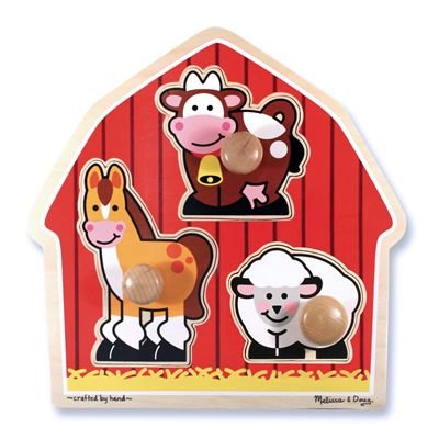 Melissa and Doug Deluxe Wooden Barnyard Animals Jumbo Knob Puzzle, Baby & Kids Zone