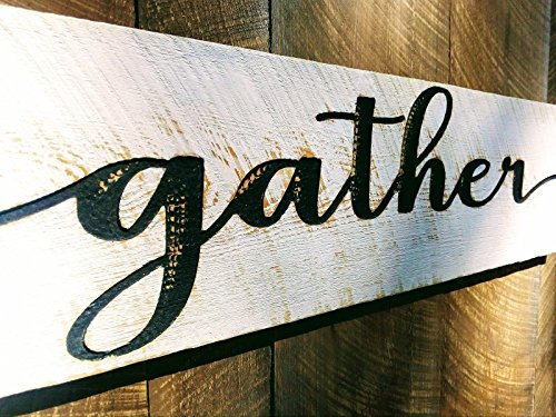 Rustic Wood Wall (Gather Sign in Script Horizontal 40x10 - Carved in a Cypress Board Rustic Distressed Kitchen Farmhouse Style Restaurant Cafe Wooden Wood Wall Art Decoration)