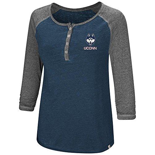 (Womens UConn Connecticut Huskies Henley 3/4 Long Sleeve Tee Shirt -)