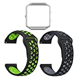 UMAXGET For Fitbit Blaze Bands, Soft Silicone Sport Wristband Breathable Replacement Strap with Silver Frame for Fitbit Blaze Smart Watch Pack 2 Black-green&black-gray Large