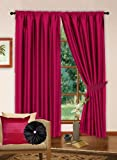 "90"" x 90"" Faux Silk Readymade Pencil Pleated Curtains Lined With Matching Set of Tiebacks Fushia / Hot Pink"