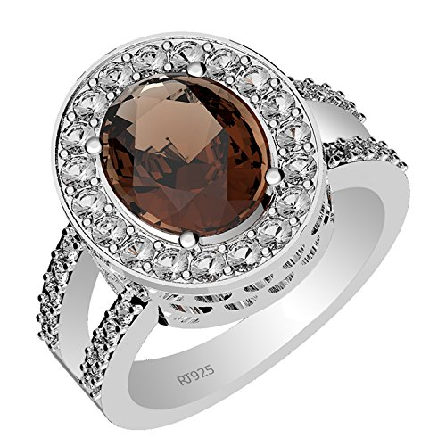 5.35ctw,Genuine Smoky Quartz 9x11mm Oval & Solid .925 Sterling Silver Halo Ring (Size-12.5)