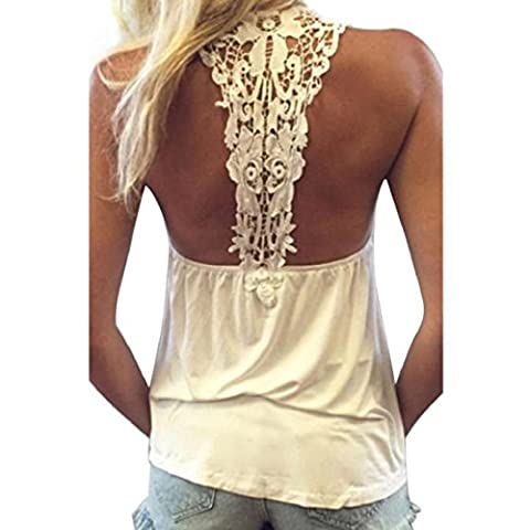 Orangesky Women Summer Vest Top Sleeveless Blouse Casual Tank Tops T-Shirt Lace (XL, White) - Beauty White T-shirt