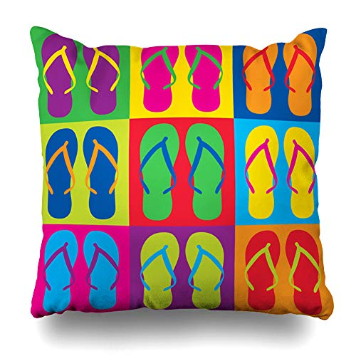 Ahawoso Throw Pillow Cover Flip Flops Holidays Beach 60S 70S Attire Checkered Design Youth Decorative Pillowcase Square Size 18