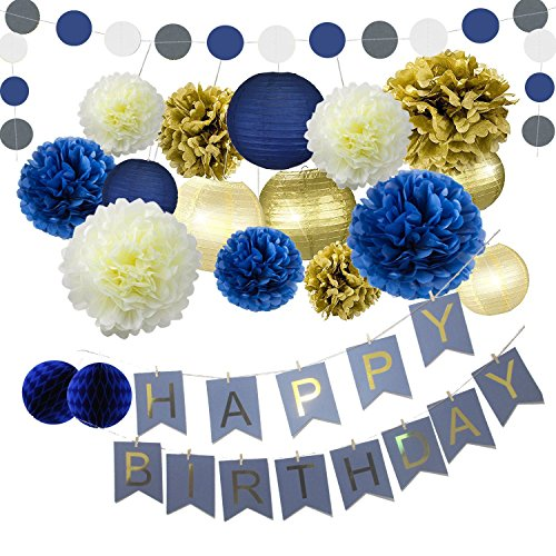 Navy Blue Gold Birthday Party Decorations Blue Happy Birthday Bunting Banner Blue Gold Paper Circle Garland Paper Flowers Tissue Paper Pom Poms Paper Lanterns for Boys' First 1st Birthday