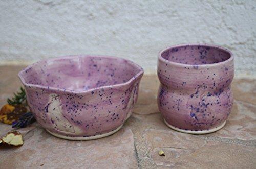 Purple Bunny Cup and Bowl set handmade ceramic kids dinnerware (Set Dining Marina)