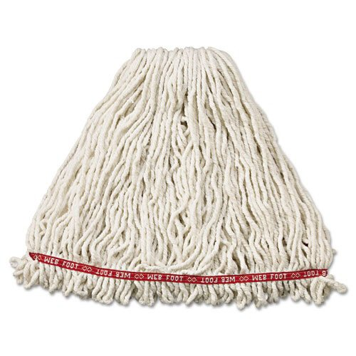Rubbermaid Commercial FGA21306WH00 6-Piece Web Foot Shrinkless Large Cotton/Synthetic Wet Mop Head with 1 in. Headband -