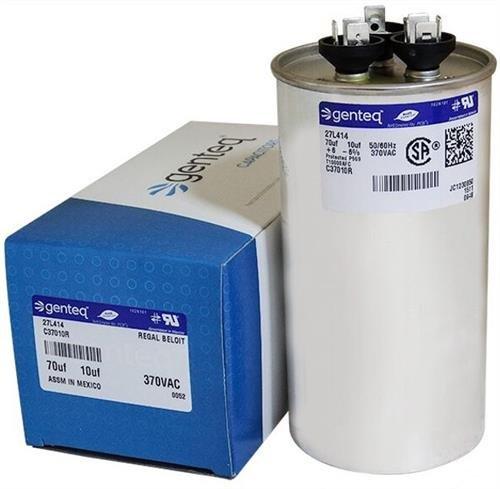 (2) Pack - Lennox 89M90-70 + 10 uf MFD 370 Volt VAC Genteq Replacement Round Dual Run Capacitors