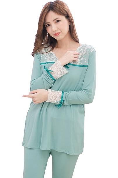 ee9b28563 bearsland Mujer Otoño Manga Larga Algodón lactancia materna de maternidad y  pijama de lactancia Verde verde S   Amazon.es  Ropa y accesorios