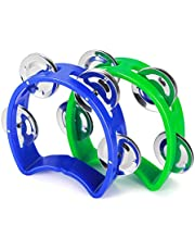 Flexzion Tambourine Hand Bell Percussion Musical Instruments (Blue & Green)