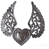 "Milagro Heart with Wings, Flying Heart, Tattoo Art, Winged Heart, Angel Wings, Haitian Recycled Metal 9.5"" x 10"""