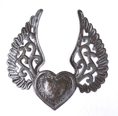 Milagro Heart with Wings, Flying Heart, Tattoo Art, Winged Heart, Angel Wings, Eternal Love, Haitian Metal 9.5
