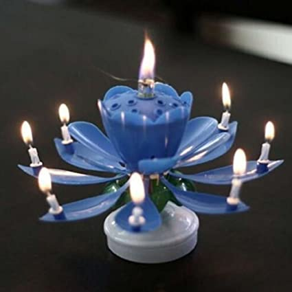 Beautiful Flower Lotus Lights Musical Birthday Candle Cake Topper Gift Amazonca Home Kitchen