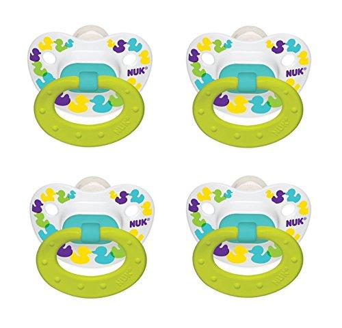 NUK Confetti Ducks Orthodontic Silicone Pacifier (4 PACK)