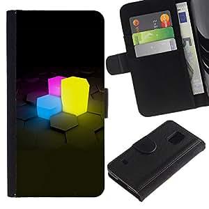 All Phone Most Case / Oferta Especial Cáscara Funda de cuero Monedero Cubierta de proteccion Caso / Wallet Case for Samsung Galaxy S5 V SM-G900 // Neon Cubes