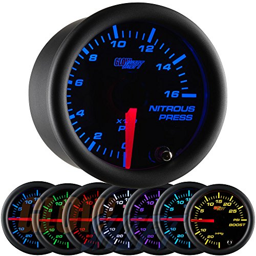 "GlowShift Black 7 Color 1,600 PSI Nitrous NOS Pressure Gauge Kit - Includes Electronic Sensor - Black Dial - Clear Lens - 2-1/16"" 52mm"