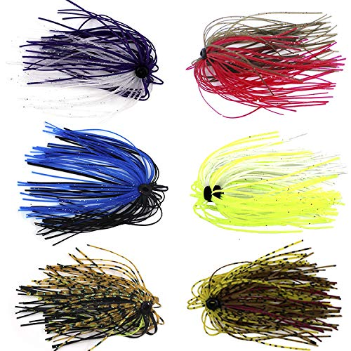 - Silicone Jig Skirts DIY Rubber Fishing Jig Lures 12 Bundles 50 Strands Fishing Bait Accessories Spinnerbaits Buzzbaits Spoon Blade Squid Skirt Replacement Part, Fly Tying Material Color Random