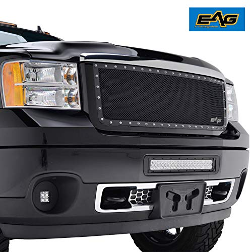 (EAG Rivet Stainless Steel Wire Mesh Grill Fit for 11-14 GMC Sierra 2500/3500 )