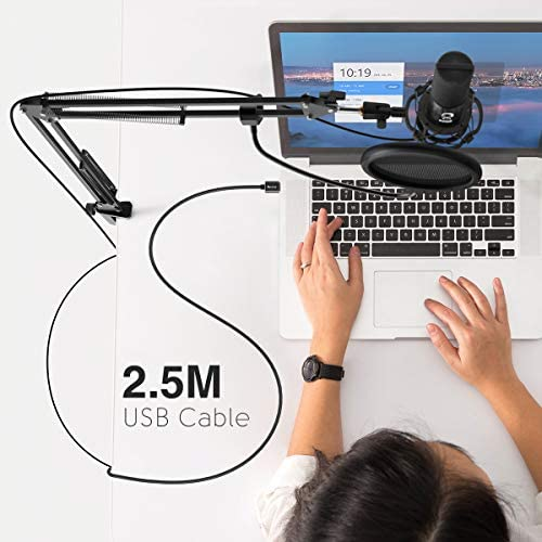 Fifine T669 Condenser USB Microphone Kit with Adjustable Scissor Arm Stand Shock Mount for PC and MAC Only (Does not work with Mobile)