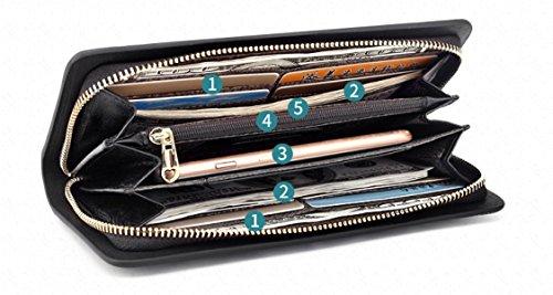 Damen Handtaschen Handtaschen Geldbörse Reißverschluss Geldbörse Chinesischen Klassischen Design BlackMagnolia MKHD0