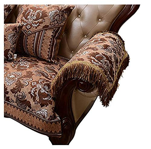 Sideli Luxury Chenille Jacquard Armrest Cover for Chair Couch Sofa Anti-Slip Furniture Protector(2pc-20x24-sofa arm Cover,Light Coffee) (Table Chenille Covers)