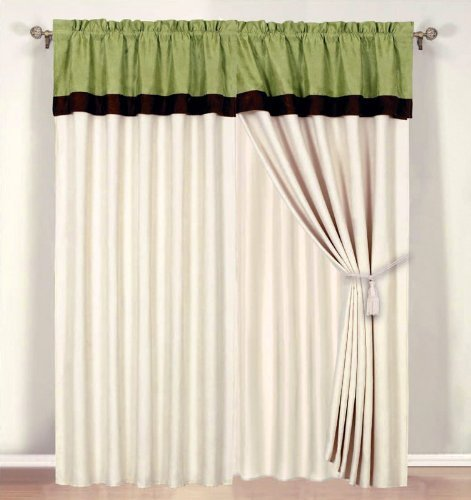 MODERN Sage Green, Brown, and Beige Suede Window Curtain / Drape Set with Sheer Backing 120-by-84-Inch