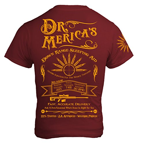 American Warrior Mens Dr. Merica's Down Range Sleeping Aid T-Shirt XX-Large Cranberry ()