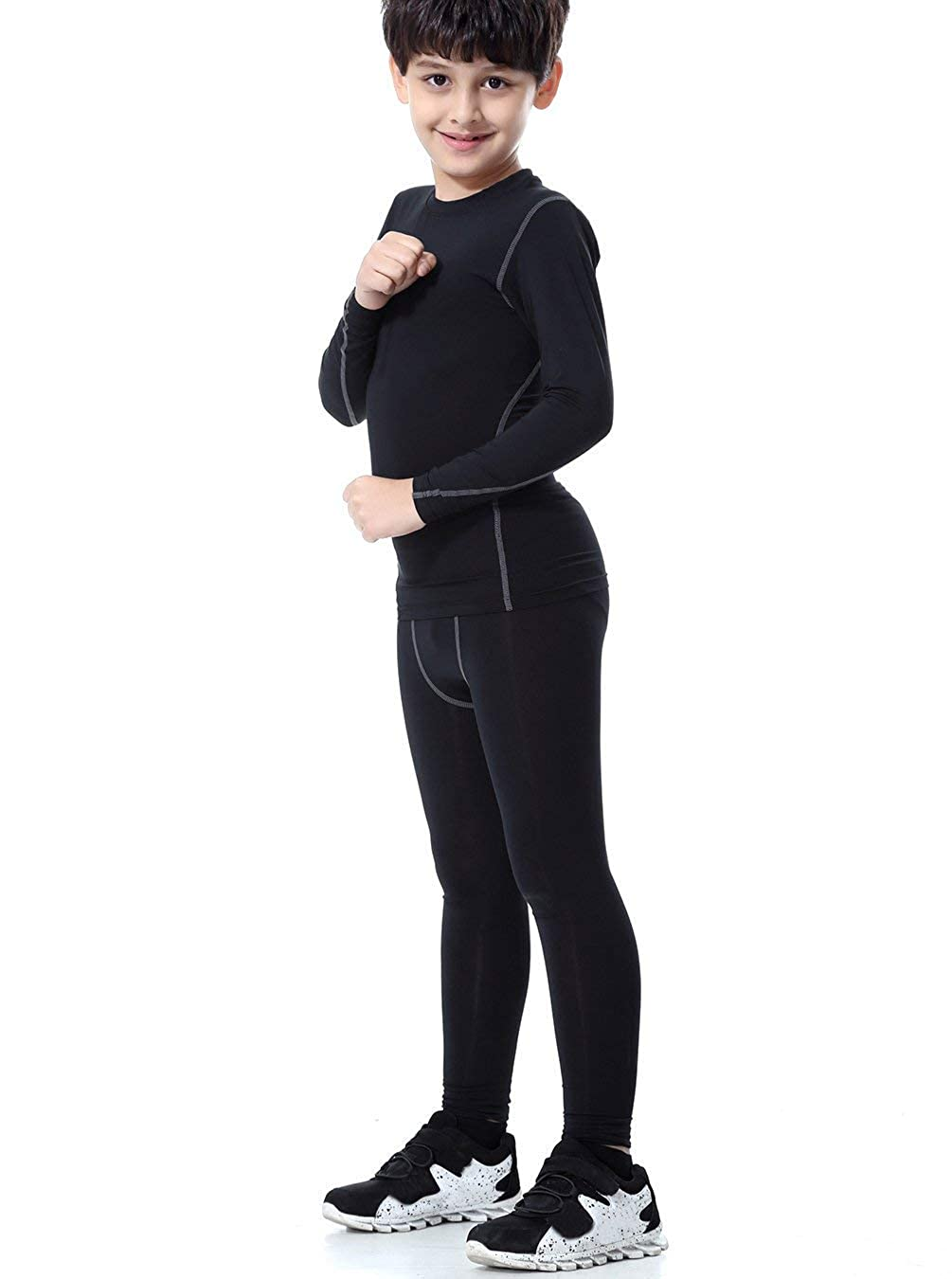 LNJLVI Boys /& Girls Sports Compression Shirts Long Sleeve and Pant 2 PCS Set