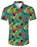 NEWISTAR Men's Funky Hawaiian Shirts Short Sleeve Beach Holiday Flowers Casual Aloha Button Down Hawaiian Shirt