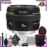 Canon EF 50 1.4 USM 58MM Lens (International Model) + 4.5 inch Vivitar Premium Lens Case + Cleaning Kit