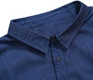 Men Denim Shirt Short Sleeve Slim fit,Cross-Border Mens Apparel Exploded Short-Sleeved Jeans Shirt